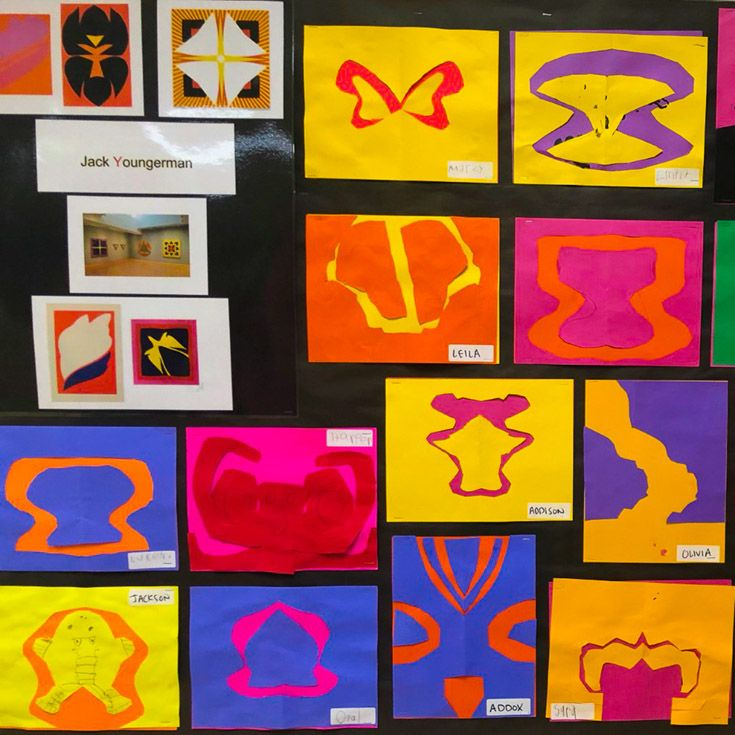 Students visit an art museum to see the works of artists whose names begin with each letter of the alphabet. Throughout the year they create their own works in each artist's style.