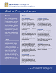 Beth Tfiloh Mission Vision and Values